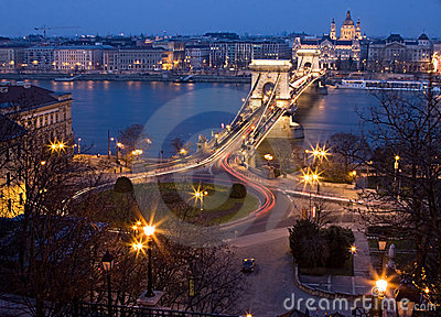 Budapest at night with Chain Bridge