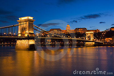 Budapest at night, Danube, Bridge, Hungary