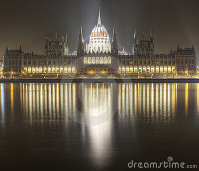 Budapest parliament building night