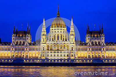 Budapest Parliament at Evening