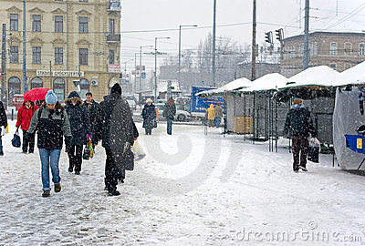 Budapest under snow Editorial Stock Photo