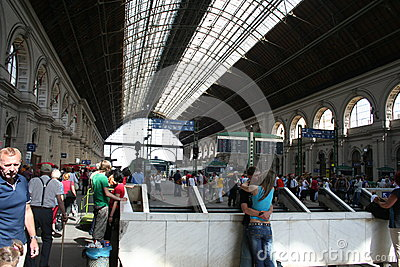 Budapest West railway station - indoor Editorial Stock Photo