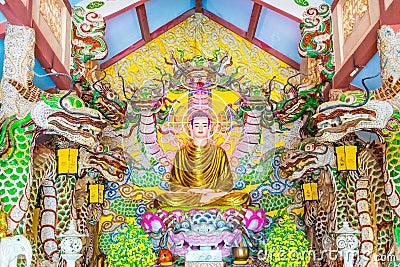 Buddha-altardekoration Am Buddhistischen Tempel Stockfoto - Bild ... Buddhistischer Altar Als Deko
