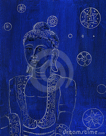 Buddha Blue and White original Drawing