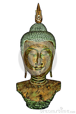 Buddha Bust in Gold and Patina