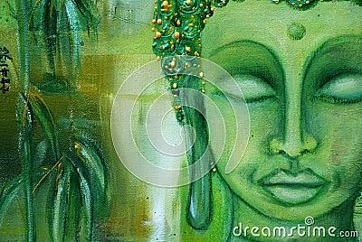 Buddha face on green