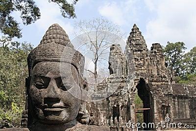 Buddha face at southgate of Angkor Thom