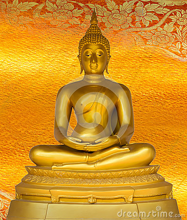 Free Buddha Gold Statue On Golden Background Patterns Thailand. Royalty Free Stock Photography - 35418877