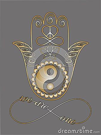 buddha hand ying yang symbol lotus flower infinity sign