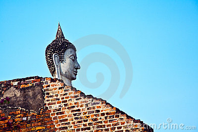Buddha Head at temple Wat Yai Chai Mongkol