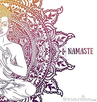 Free Buddha In Meditation On Beautiful And Magical Mandala Royalty Free Stock Image - 108028296