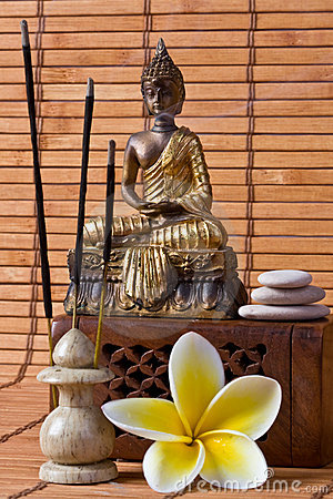 Buddha With Incense Sticks And Flower