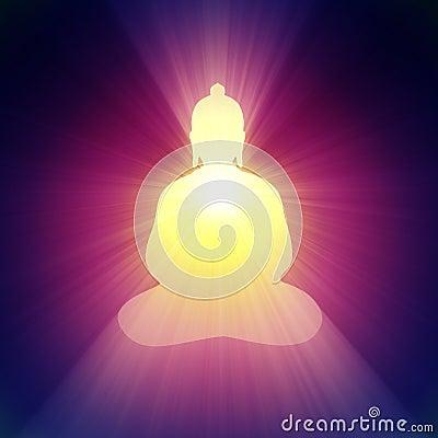 Buddha light halo glowing bright flare