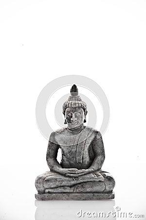 Buddha nervoso que meditating