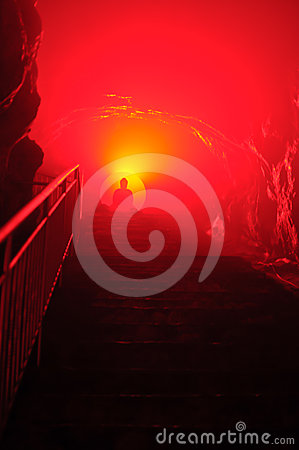 Buddha with red light