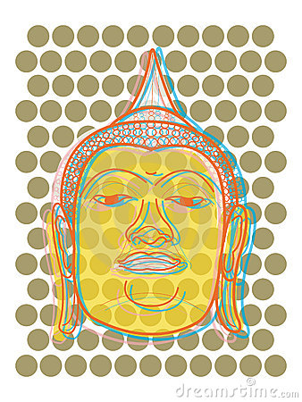 Buddha s head pop art dots