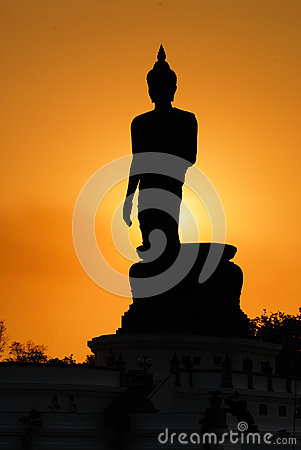 Buddha silhouette on sunset