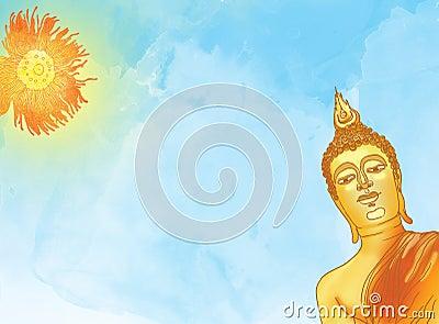 Buddha statue against a blue sky