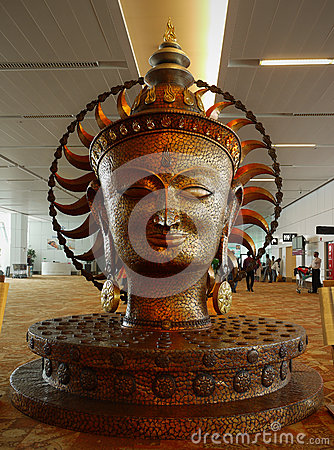 Buddha Statue - Delhi Airport - India Editorial Photography