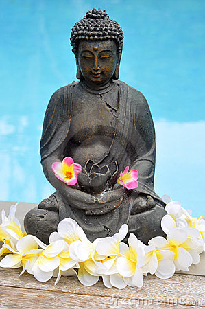 Buddha Statue with Flowers By Pool