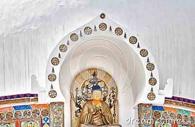 Buddha statue from Shanti Stupa Stock Photo