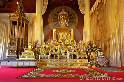 Buddha statue in Wat Phra Singh temple, Chiang Mai
