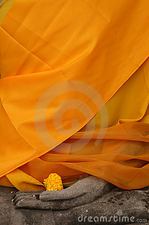 Free Buddha Statue Wrapped In Orange Fabric Stock Image - 500971