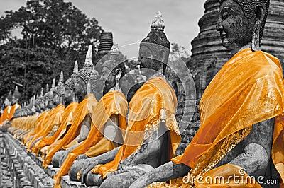 Buddha statues B&W