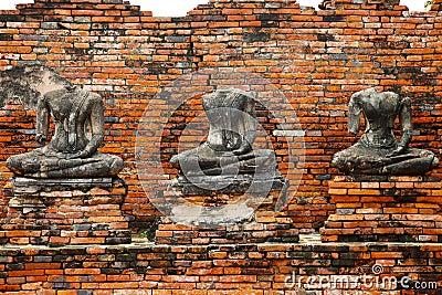 Buddha statues ruin in Ayutthaya historical park