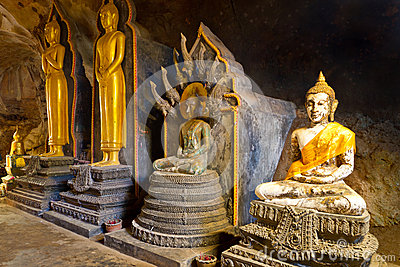 Buddha statues in the temple of Thailand
