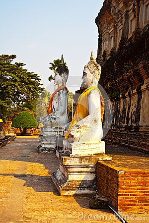 Buddha statues at the temple of Wat Yai Chai Mongk