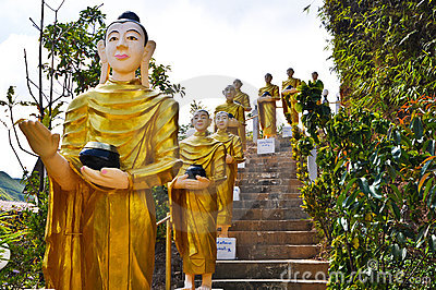 Buddha statues  were walking alms