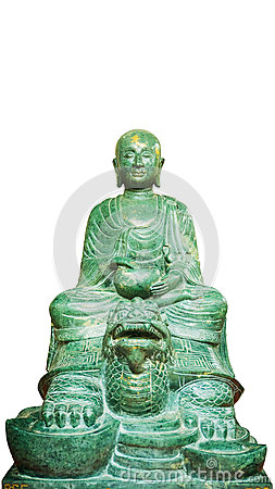 Free Buddha Stone Green(Lucky Stone)Statue Isolated  On A White Background. Stock Photos - 77078703
