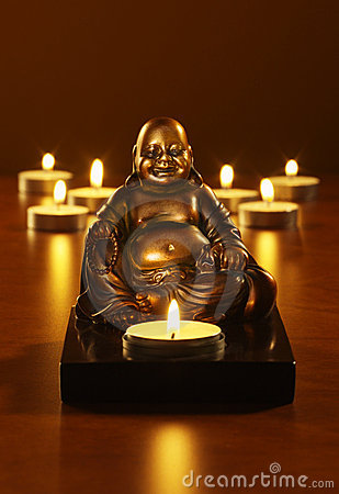 Buddha and tea lights