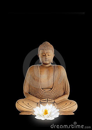 Buddha and White Lotus Flower