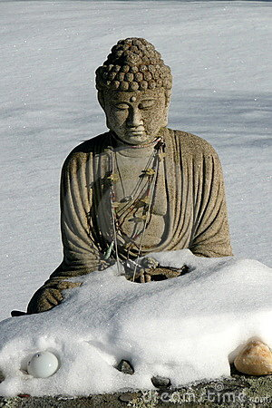 Buddha: winter snow