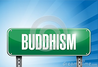 Buddhism religious road sign banner illustration