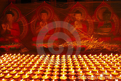 Buddhist butter lamps
