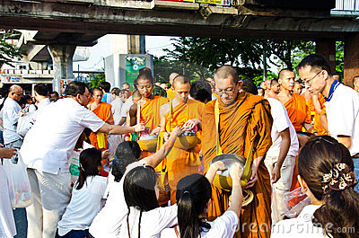 Buddhist charity and merits. Editorial Stock Image