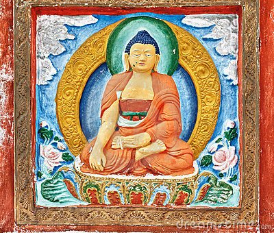 Buddhist details from Shanti Stupa wall Stock Photo
