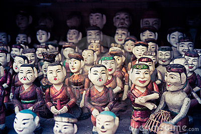 Buddhist dolls on sale at a temple