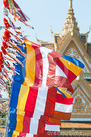 Buddhist flags in Cambodia
