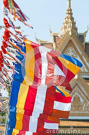Buddhist flags in Cambodia