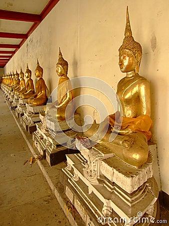 Buddhist gold statues, Bangkok, Thailand.