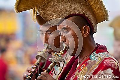 Buddhist lamas play music during Tsam mystery Editorial Image