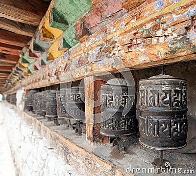 Free Buddhist Many Prayer Wheels, Buddhism In Nepal Royalty Free Stock Photo - 100158555