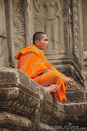 Buddhist monk in Angkor Wat in Cambodia Editorial Photo