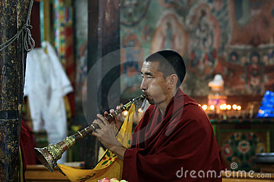 Buddhist monk on ceremony Editorial Stock Image