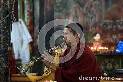 Buddhist monk on ceremony Editorial Stock Image