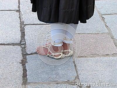 Buddhist monk s feet